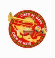 cinco de mayo mexican holiday food and mexico map vector image vector image