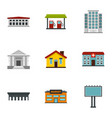 city elements icons set flat style vector image