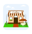 Coffee shop building facade with table and chairs vector image vector image