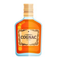 cognac bottle party sign icon glass vector image