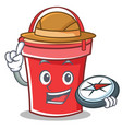 compass bucket character cartoon style vector image vector image