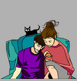 couple with cat vector image