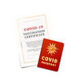 covid19-19 vaccination certificate and passport vector image