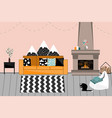 cozy interior in scandinavian style living vector image