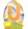 Cute initial letter U vector image vector image