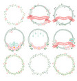 daisy spring and easter flower wreath collection vector image