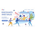 discounts and sales landing page flat template vector image
