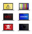 error signs on laptop screens isolated on white vector image vector image