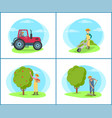 farmer with rake on field vector image vector image