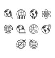 flat black globe icon set vector image vector image