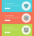 flat line business concept web site banners set vector image