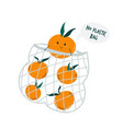 funny mandarin character in reusable mesh vector image
