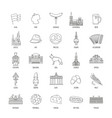 germany icons set outline style vector image
