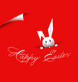 happy easter bunny red background vector image vector image