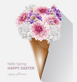 hello spring flowers bouquet in an ice cream cone vector image