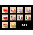 international country flags on flat icons vector image