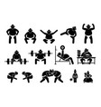 japanese sumo wrestler icons pictograph simple set vector image vector image