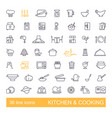 kitchen and cooking icon set flat design thin vector image