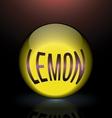 lemon glass sphere purple text logo vector image vector image