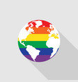 lgbt community symbol on world map flat design vector image vector image