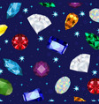 low poly set of gemjewel crystal background vector image