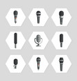 microphones icons - flat microphones icons set vector image