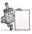 muffler cartoon character holding a blank sign vector image