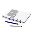 notebook pencil and pen set vector image vector image