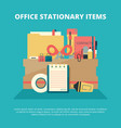 office stationary collection business gadgets vector image