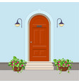 orange front door with electric lanterns on the vector image vector image