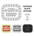 pet shop signpet shop single icon in cartoon vector image vector image