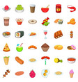 prepared dish icons set cartoon style vector image vector image