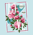 print for t-shirt or poster with pink peonies vector image vector image