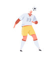 professional soccer player hitting ball with head vector image vector image