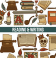 reading and writing poster with books vector image vector image