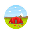 red tourist tent and campfire on natural mountain vector image vector image