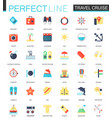 set flat travel cruise icons vector image