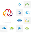 set of cloud tech logo design concept tech cloud vector image vector image