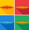 Set of flat music wave icons vector image