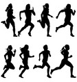 Set of silhouettes Runners on sprint women