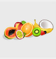 sliced exotic fruits set vector image