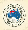 Stamp with map flag of Australia vector image vector image