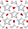 star background with 3d hearts vector image vector image