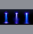ufo light beams blue rays from alien spaceship vector image