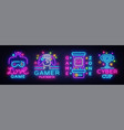 video game neon sign collection conceptual vector image vector image
