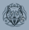 white wolf with a rose in mouth vector image vector image