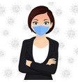 woman use face mask disposable medical surgical vector image vector image