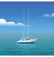 yacht at sea with reflection and seagulls side vector image