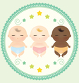 Multicultural babies sleeping vector image