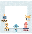 Background with robot in flat style vector image